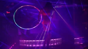 Dancer Nova puts a show with her Hula Hoop on the Main Stage.