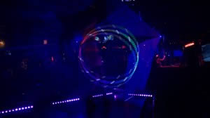 Dancer Nova works her Hula Hoop with Blue Lasers