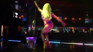 Platinum Blonde Dancer Calypso dances on the main stage